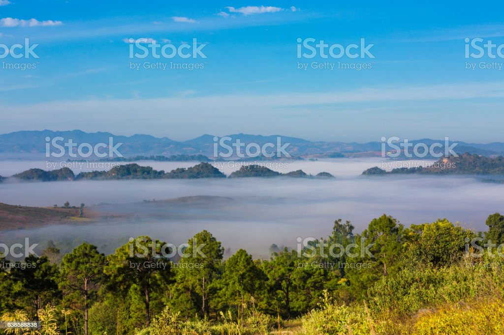 landscape panorama Kalaw Shan state Myanmar stock photo