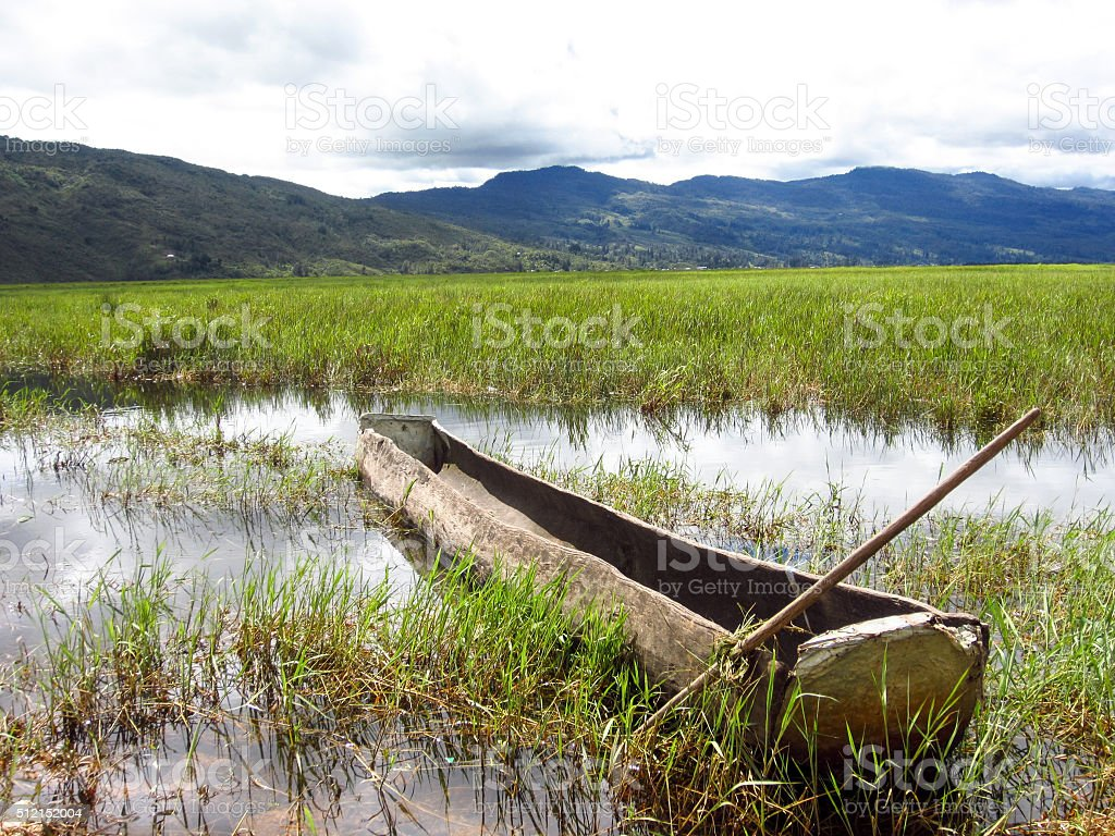 Landscape panorama view of river with the boat on field stock photo