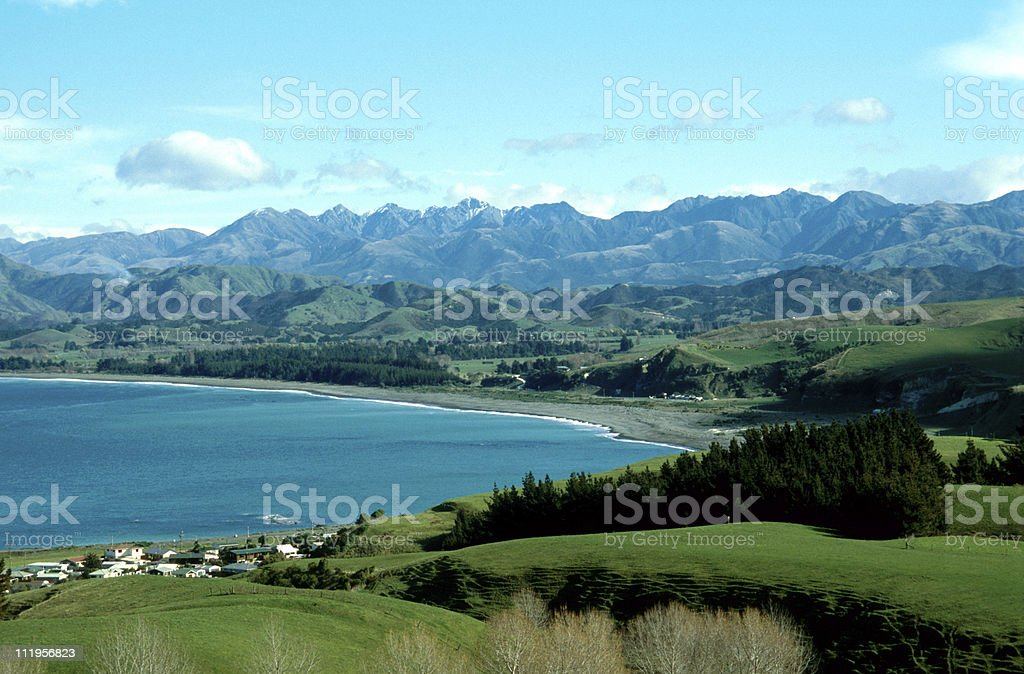 landscape panoramic Kaikoura stock photo