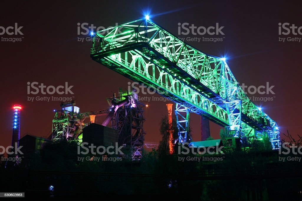 Landschaftspark Duisburg Nord by Night stock photo