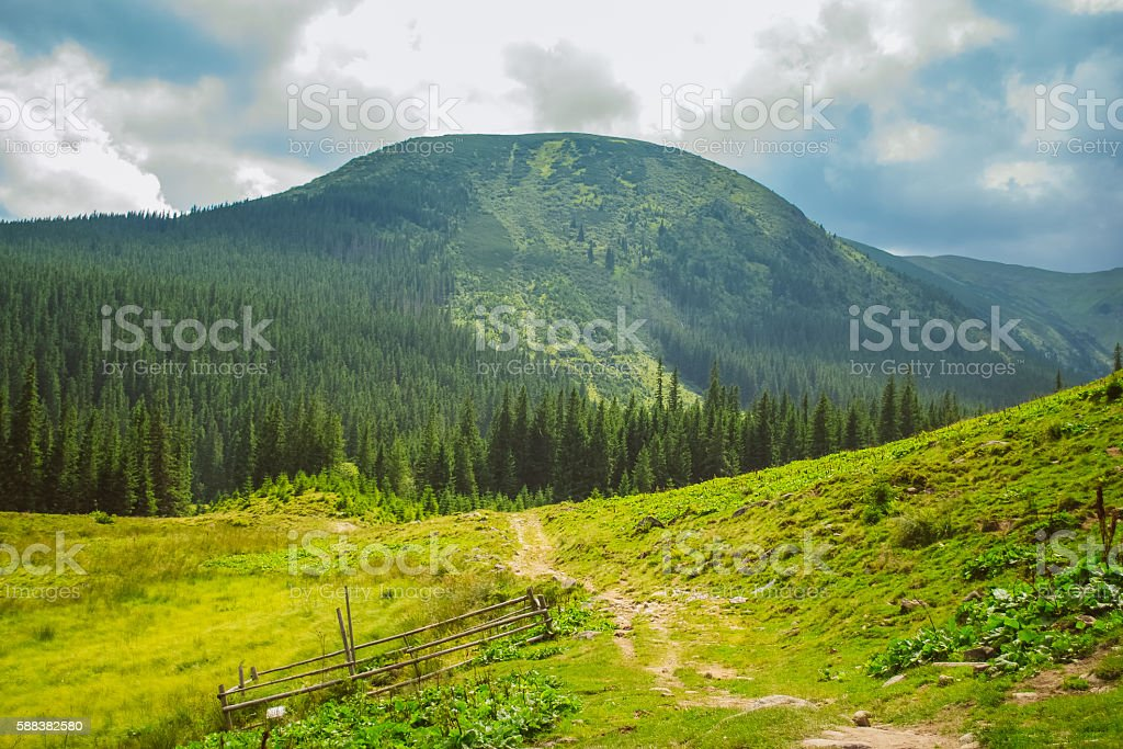 Landscape path through the mountains on a cloudy summer day stock photo