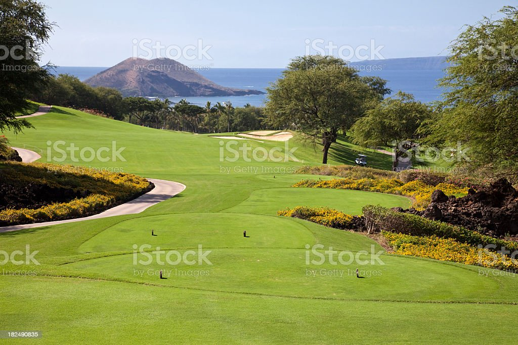 Landscape photo of a golf course stock photo