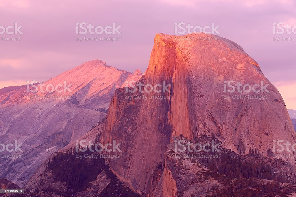Landscape photo of Half Dome at sunset, open sky stock photo