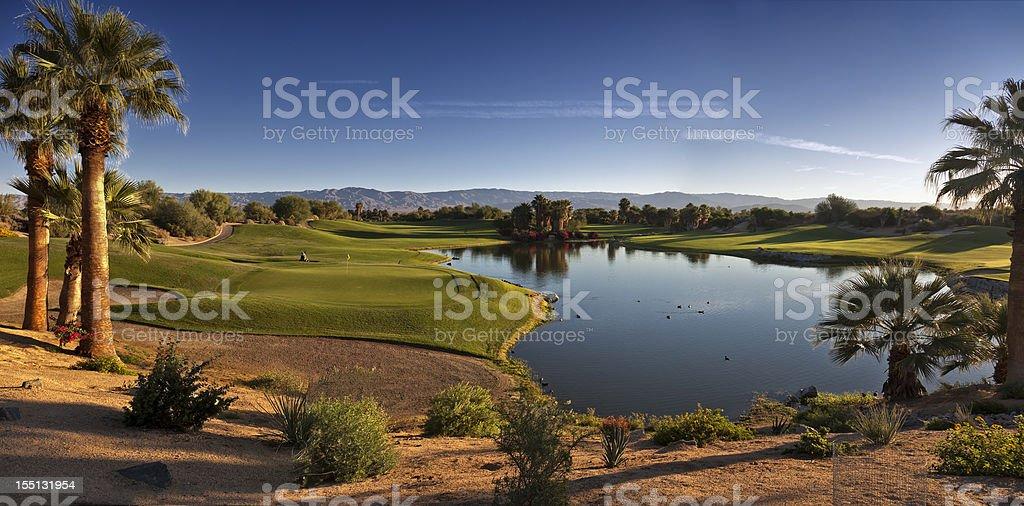 Landscape photo of Palm Desert showing lake stock photo