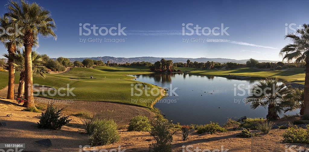 Landscape photo of Palm Desert showing lake stock photo