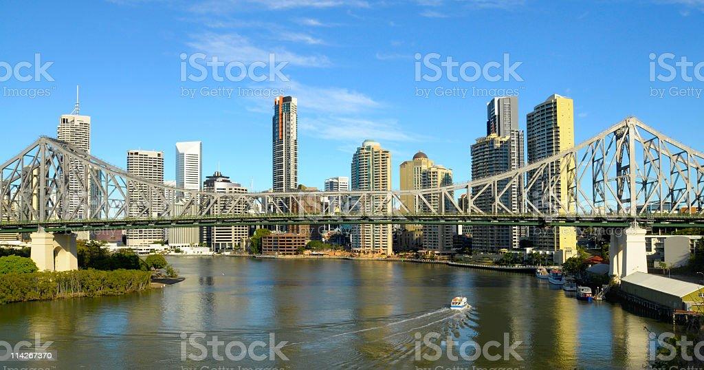 Landscape photo of Story Bridge with city behind stock photo