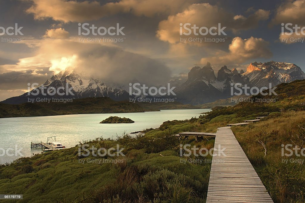 Landscape photo of stunning Torres del Paine stock photo