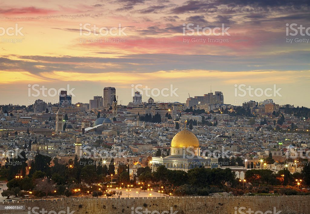 Landscape photo of the old city of Jerusalem stock photo