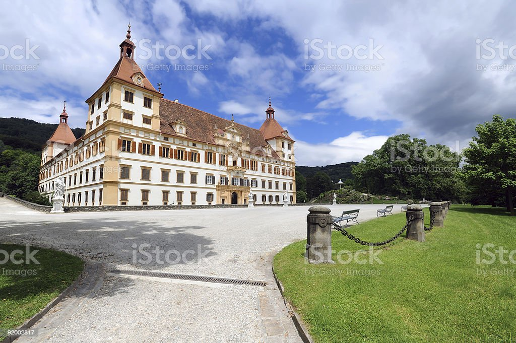 Landscape photo of the picturesque Eggenberg castle in Graz royalty-free stock photo