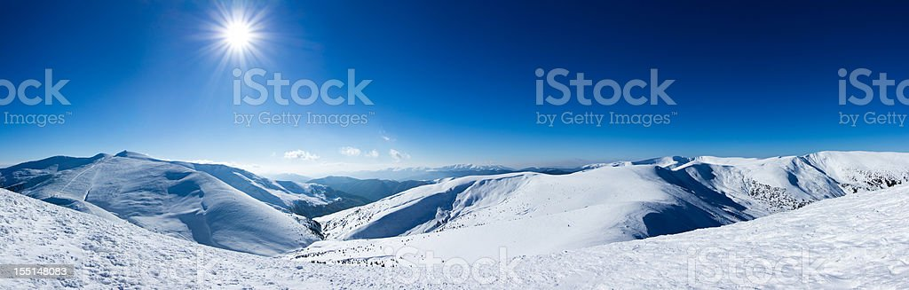 A landscape photo of winter mountains royalty-free stock photo