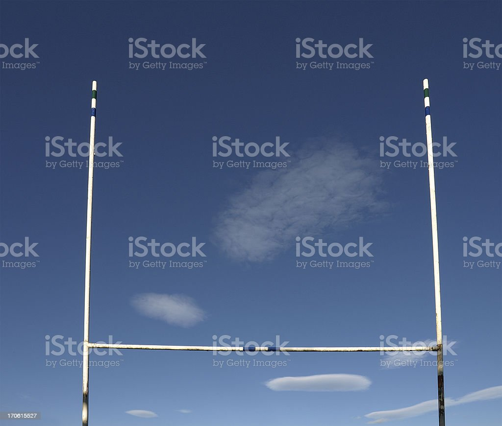 Landscape photograph if Rugby goal posts stock photo