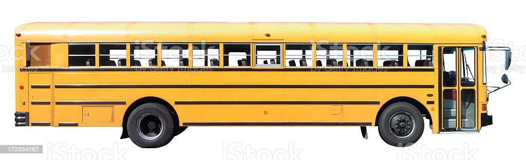 Landscape photograph of a bus on a white background stock photo