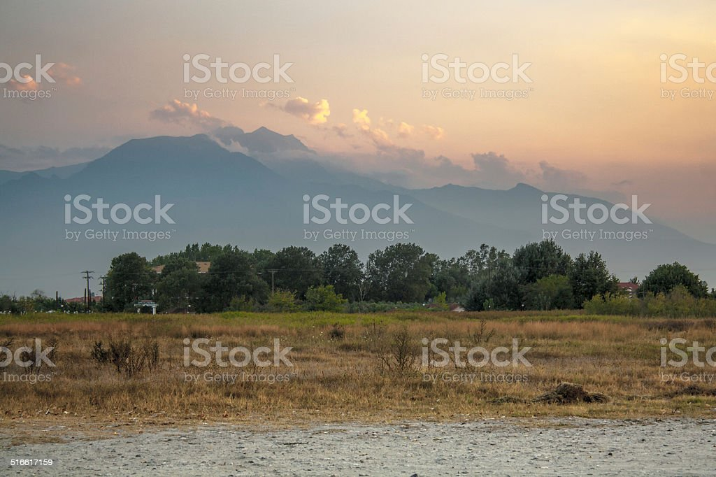 Landscape photograph of sunset over mount Olympus stock photo