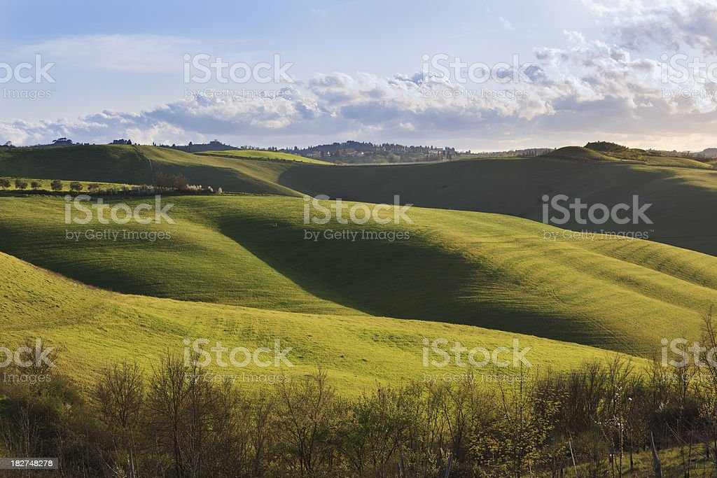 A landscape photograph of the rolling Tuscan hills royalty-free stock photo