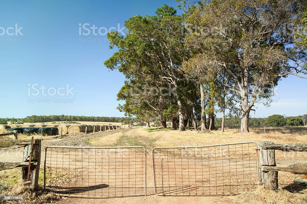 Landscape photograph of the side entrance of a farm stock photo