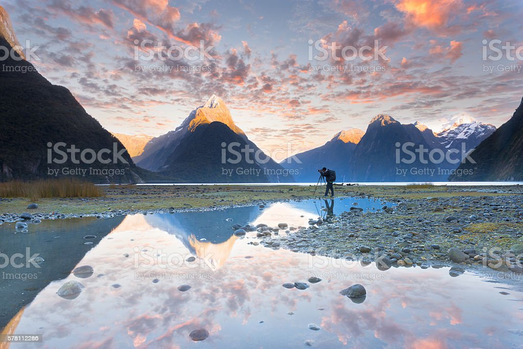 Landscape photography Milford sound New Zealand stock photo