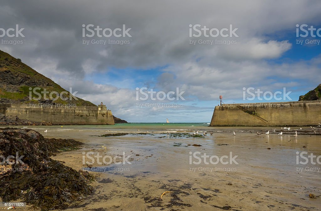 Landscape Photography of Port Isaac beach with no people stock photo