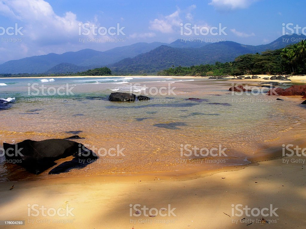 Landscape picture of Bureh Beach in Sierra Leone stock photo