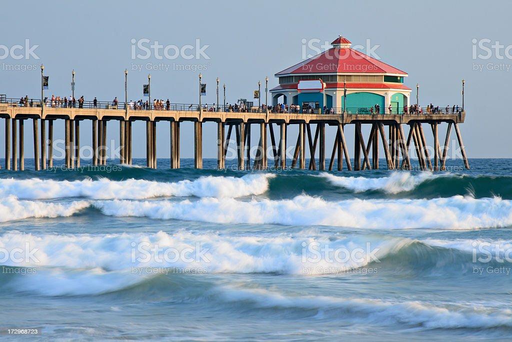 A landscape picture of Huntington Beach Pier stock photo