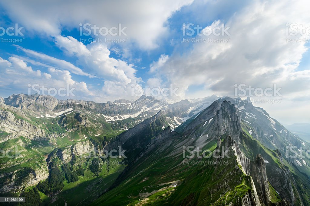 Landscape picture of the Swiss alps in the summer stock photo