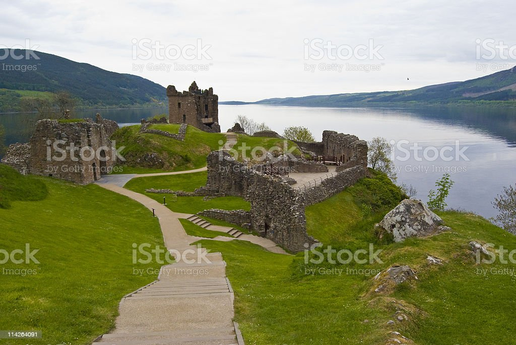 A landscape picture of Urquhart Castle royalty-free stock photo
