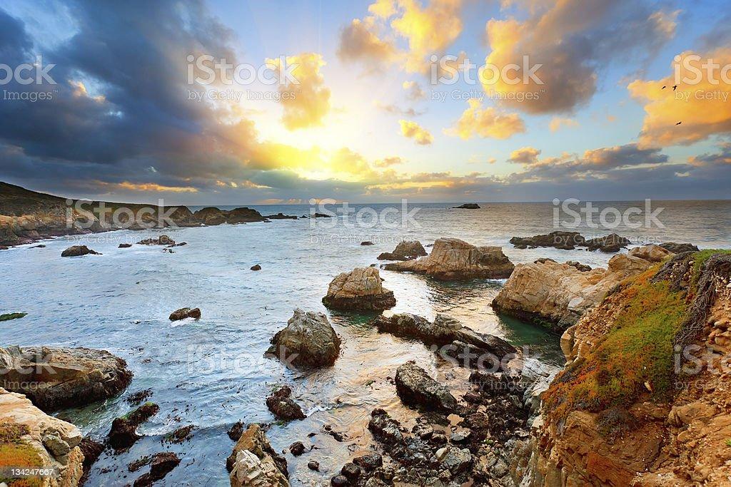 Landscape portrait of Big Sur Pacific coastline at sunset stock photo