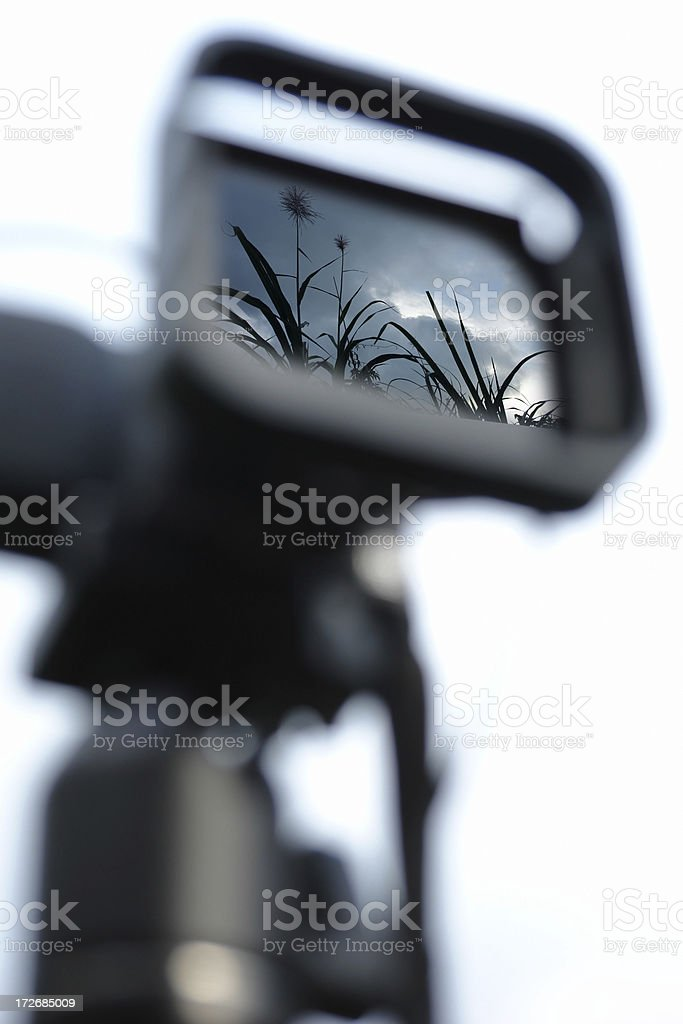 Landscape Reflection in Camera stock photo