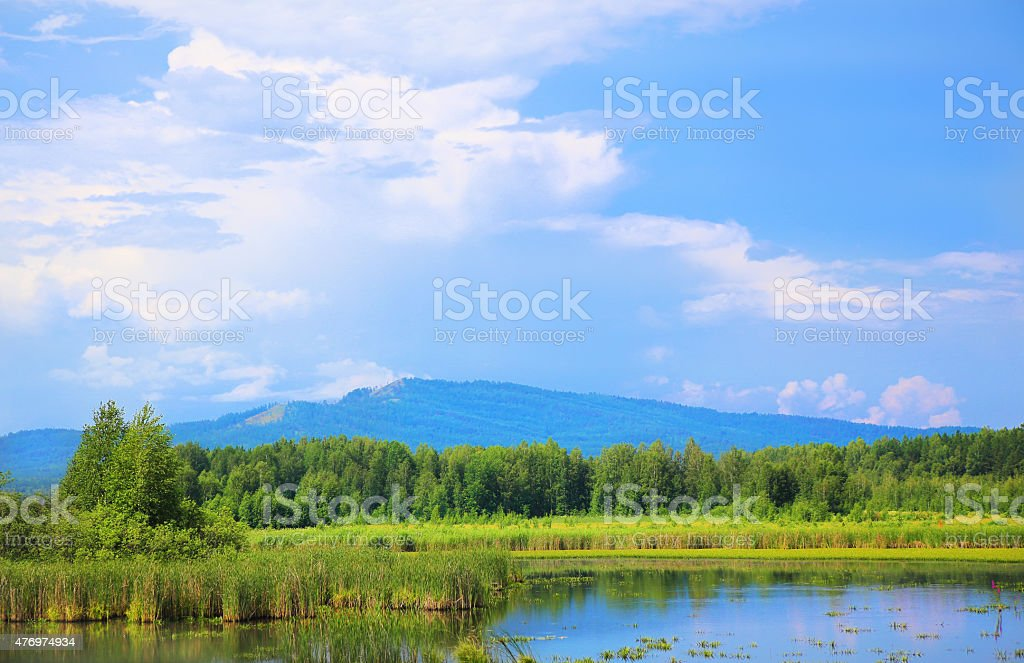 landscape river wood mountain and cloudy sky stock photo