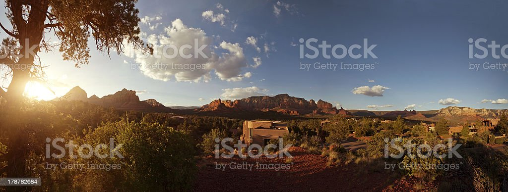 Landscape scene of red rock mountains with sunlight royalty-free stock photo