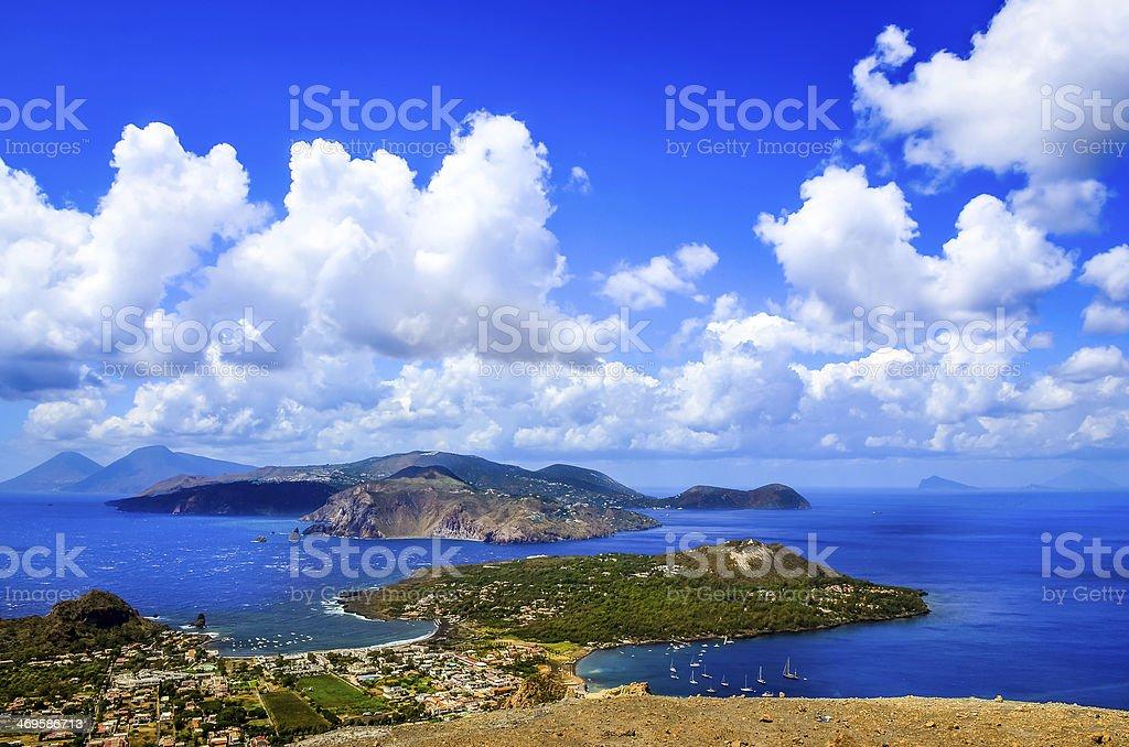 Landscape scenic view of Lipari islands, Sicily, Italy stock photo