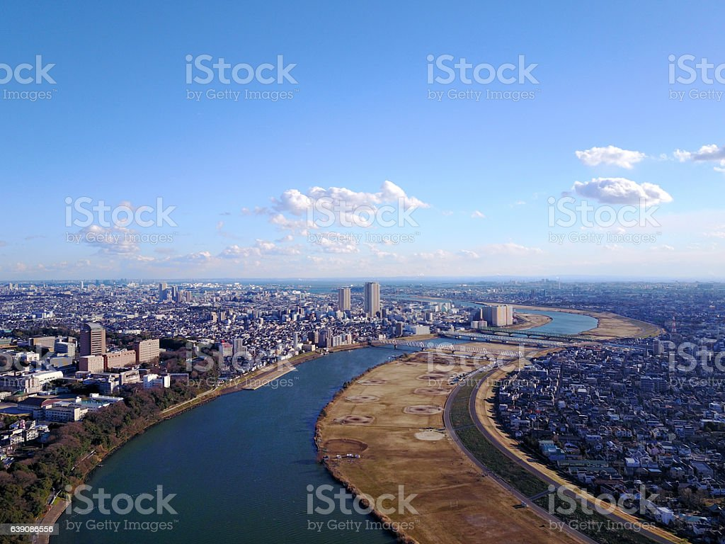 Landscape seen from above the Edogawa River stock photo