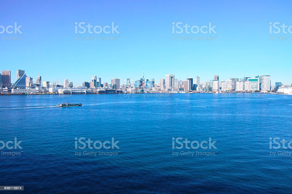 Landscape seen from Tokyo Bay stock photo
