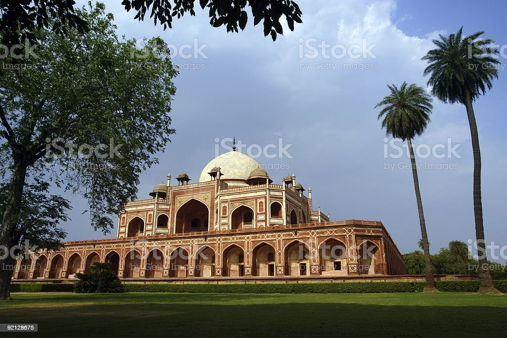 A landscape shot of Humayun's Tomb on a cloudy day stock photo