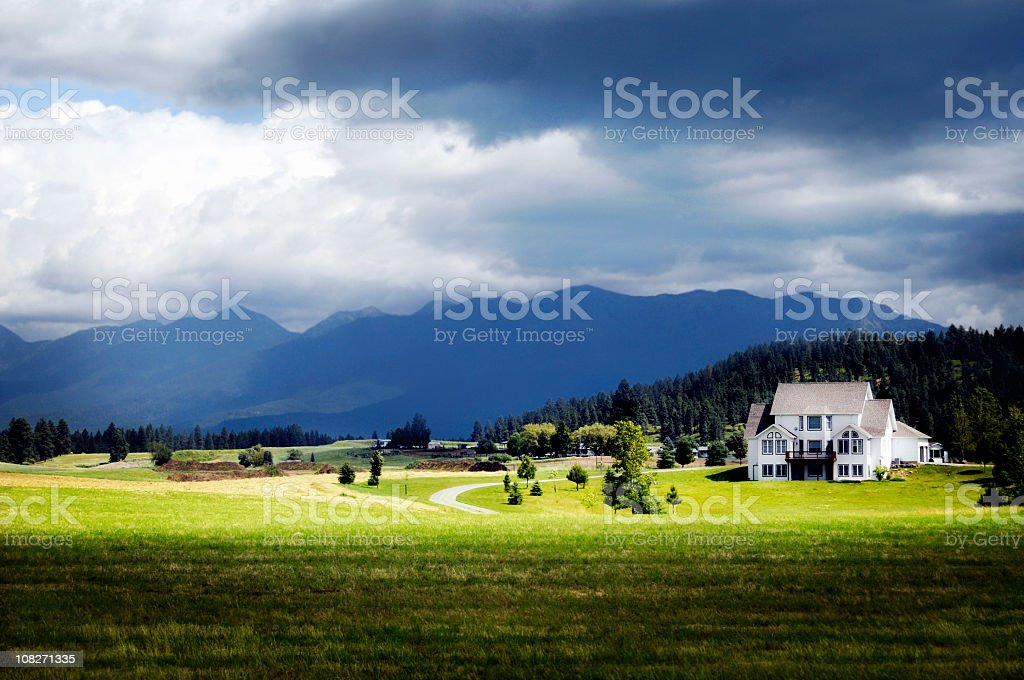 A landscape shot of Montana Big Sky mountains  stock photo