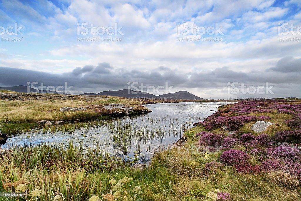 Landscape shot of moorland near Daliburgh, South Uist stock photo