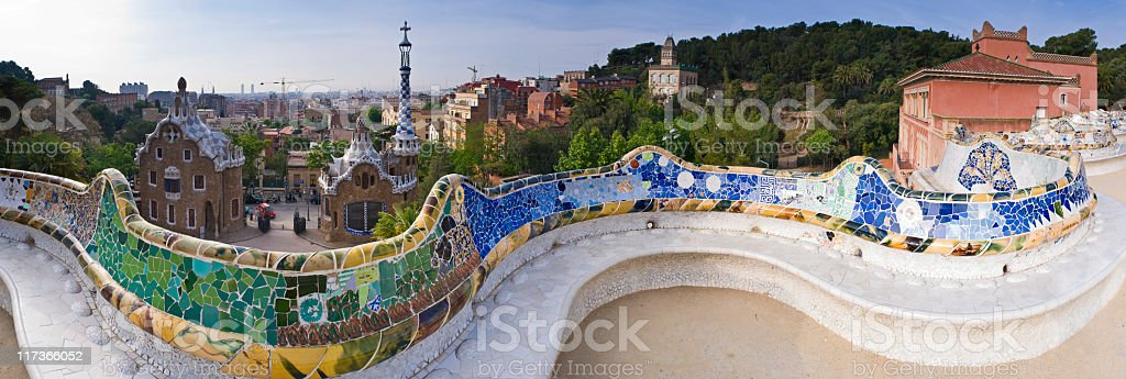 A landscape shot of Parc Guell on a sunny day stock photo
