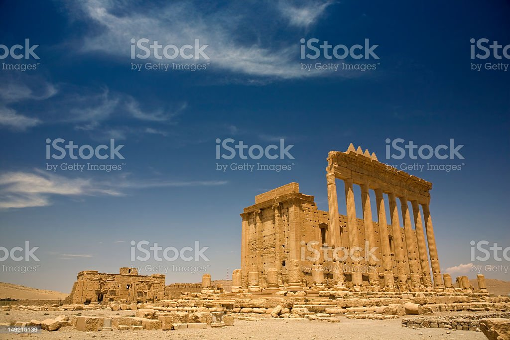 A landscape shot of the ancient ruins of Palmyra stock photo