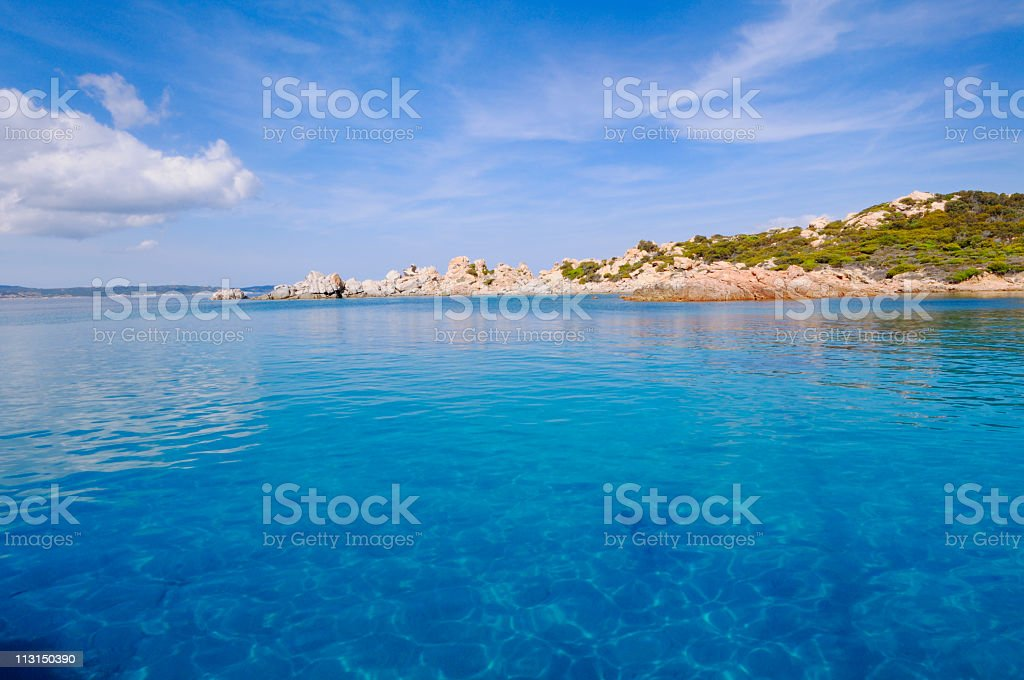 A landscape shot of the blue waters in La Maddalena royalty-free stock photo