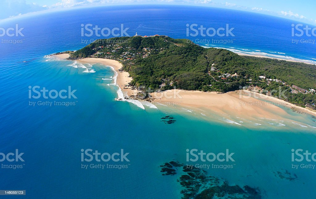 A landscape shot of the waters surrounding Cape Byron stock photo