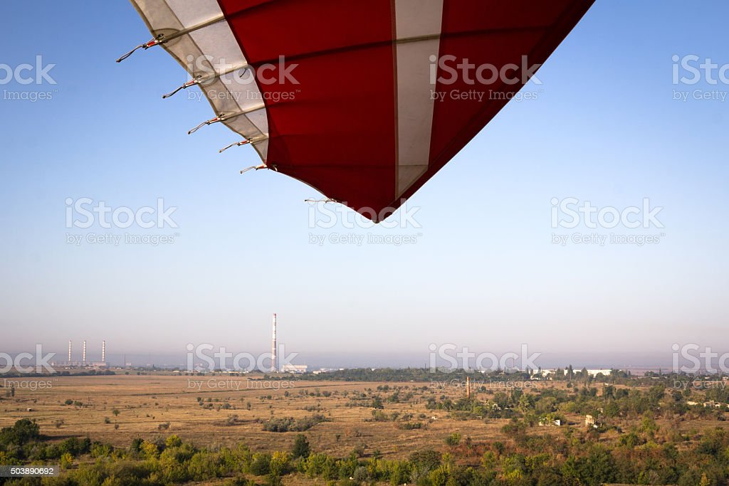 Landscape shot with a paraglider stock photo