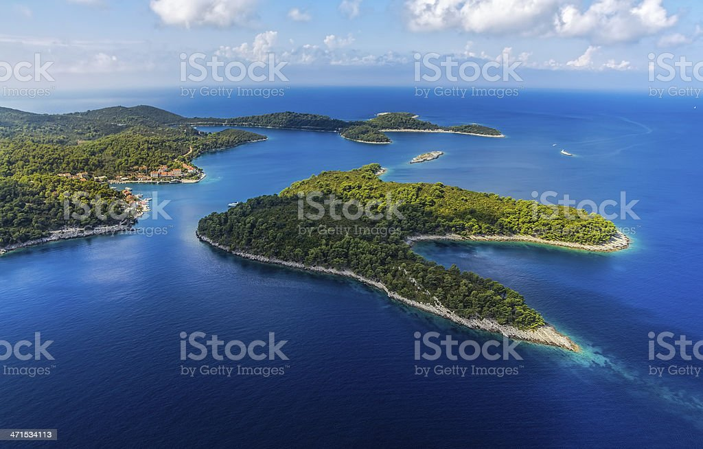 Landscape showing the island of Mljet stock photo