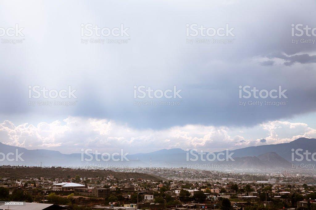 Landscape.  Skyline, city view of Saltillo, Mexico. stock photo