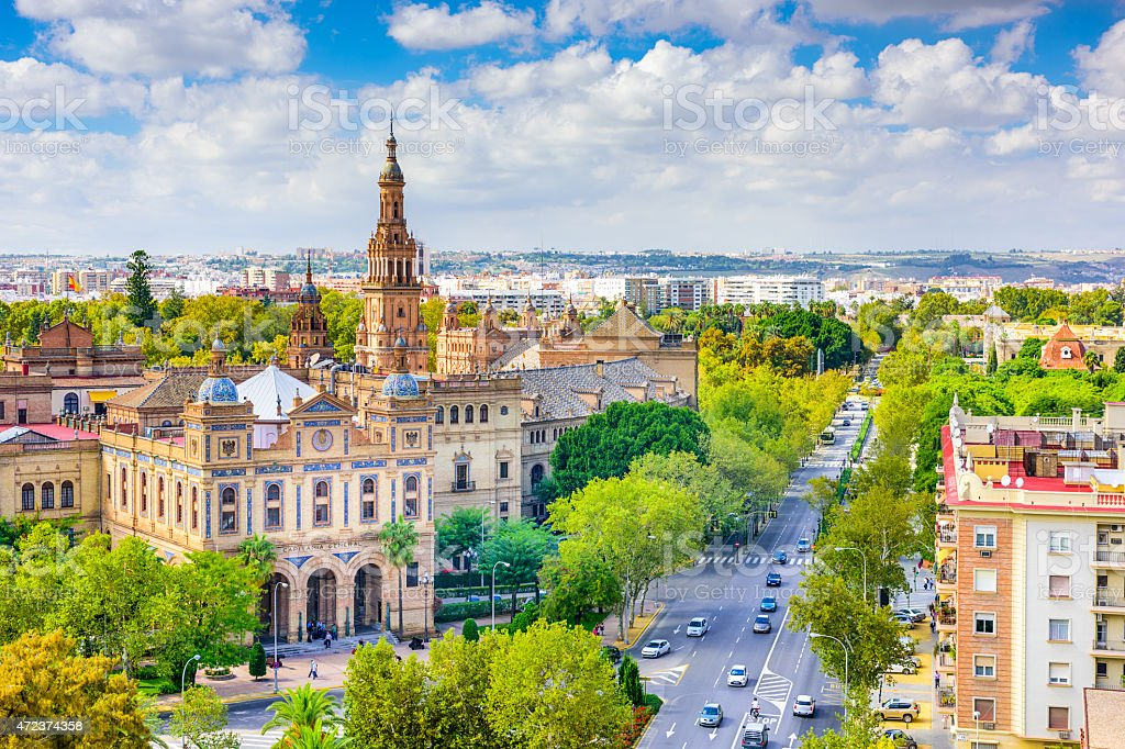 Landscape skyline shot of Seville, Spain in the spring stock photo