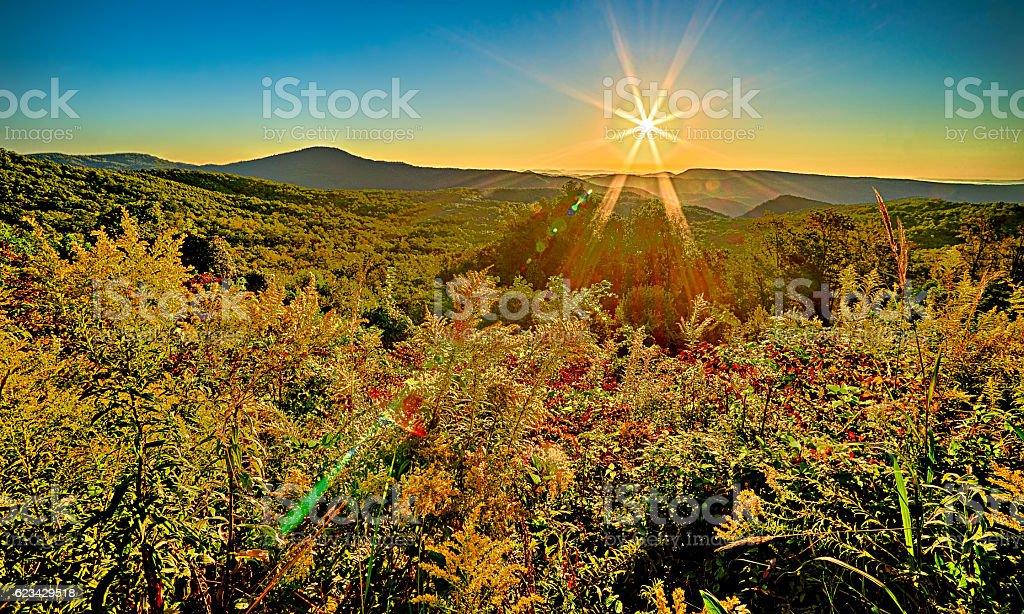 landscape sunrise at brown mountain overlook stock photo