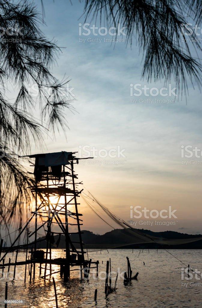 Landscape Sunset Lake Songkhla stock photo