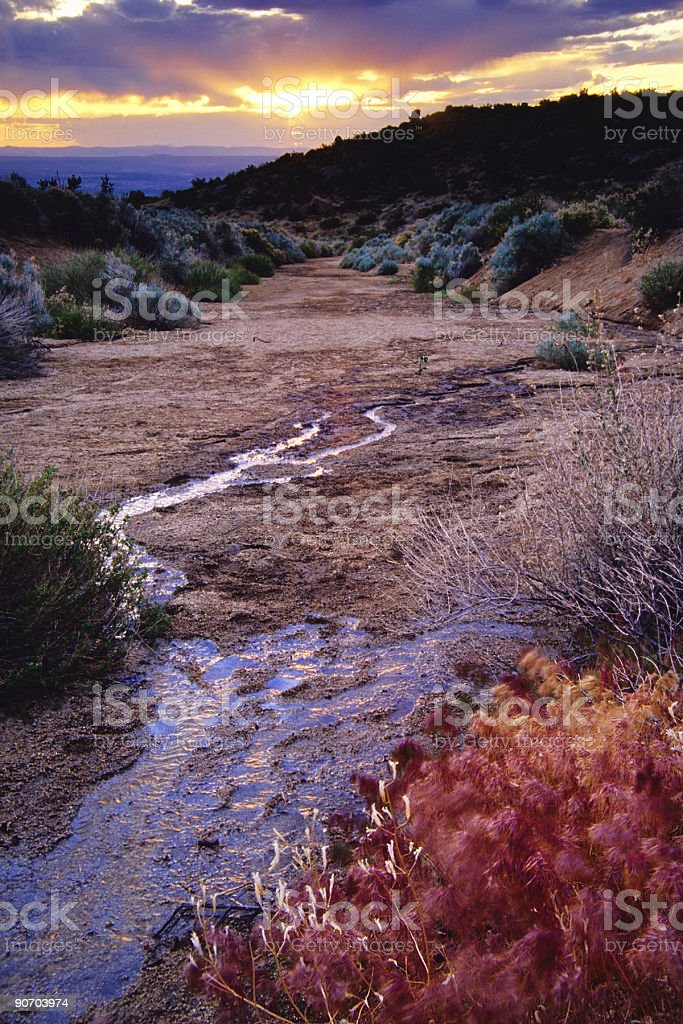 landscape sunset sky and stream royalty-free stock photo