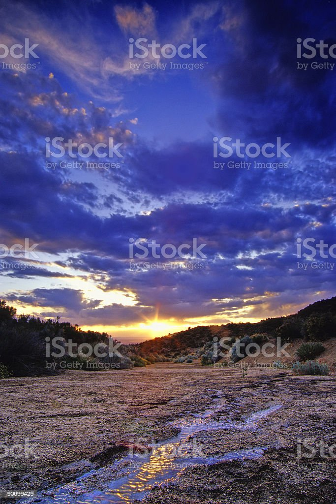 landscape sunset sky stream reflection royalty-free stock photo