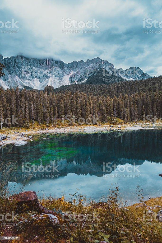 landscape the wild nature lake Misurina stock photo