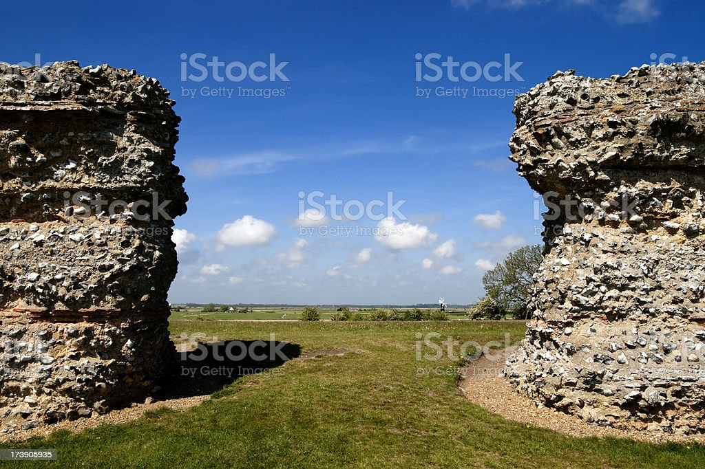 Landscape through a Roman wall at Burgh Castle royalty-free stock photo