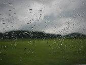 landscape through rainy window